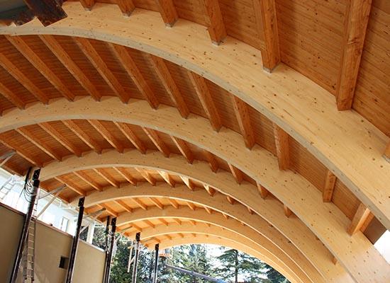 Struttura con travi curvi per un cantina produzione vino for Casa legno antisismica costo